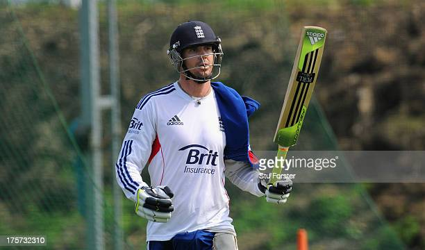 England batsman Kevin Pietersen leaves the nets after his session of batting during England practice at Emirates Durham ICG on August 7 2013 in...
