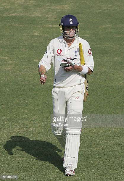 England batsman Kevin Pietersen leaves the pitch after being dismissed during the Fifth day of the First Test Match between Pakistan and England at...