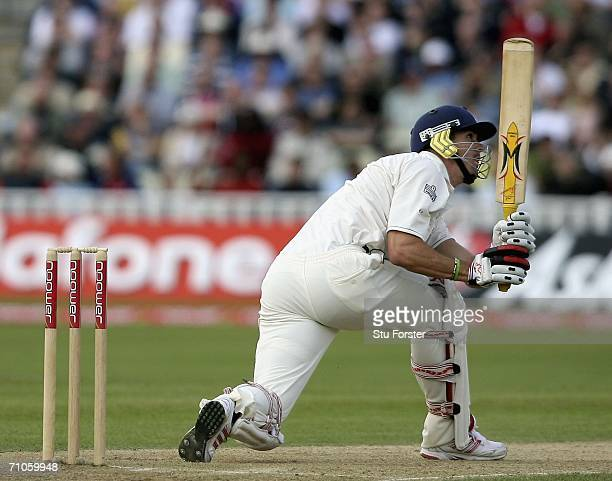 England batsman Kevin Pietersen reverse sweeps a ball over the boundary for six runs during the second day of the Second npower Test Match between...