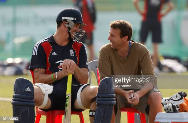 England batsman Kevin Pietersen shares a joke with former England captain Michael Atherton during England Nets at the Zohur Ahmed Chowdhury Stadium...