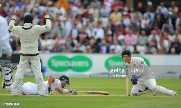 England batsman Kevin Pietersen survives a stumping chance by Brad Haddin during day three of 4th Investec Ashes Test match between England and...