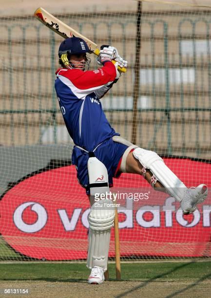 England batsman Kevin Pietersen tucks into a short ball during England Nets at The Multan Cricket Stadium on November 10 2005 in Multan Pakistan