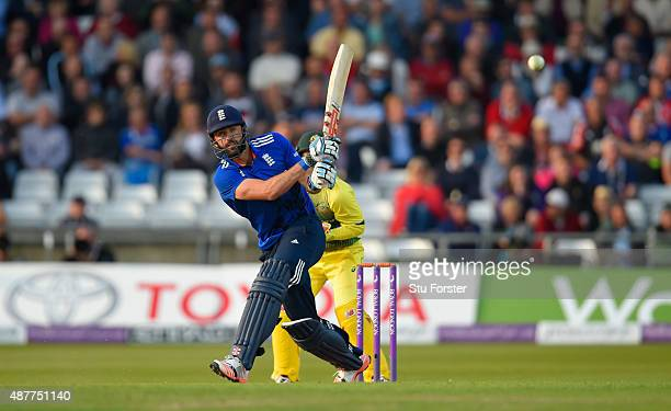 England batsman Liam Plunkett hits out during the 4th Royal London OneDay International match between England and Australia at Headingley on...