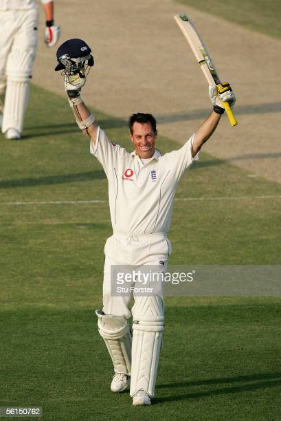 England batsman Marcus Trescothick celebrates after reaching his hundred during the second day of the First Test Match between Pakistan and England...