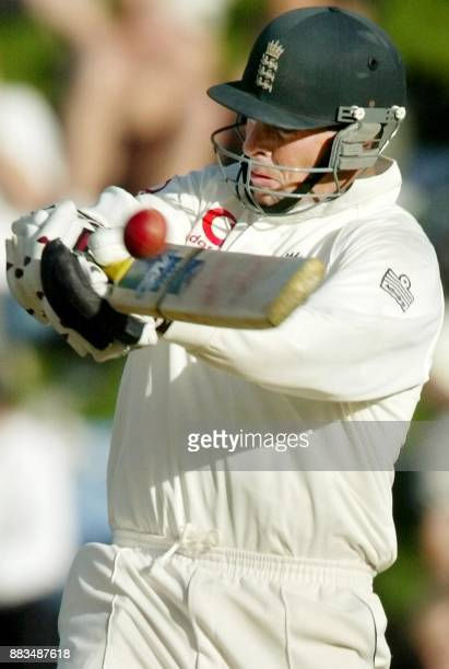 England batsman Marcus Trescothick pulls a ball to the boundary from New Zealand fast bowler Chris Martin the second day of the second Test Match...