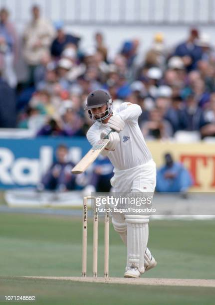 England batsman Mark Lathwell drives during the 4th Test match between England and Australia at Headingley Leeds 25th July 1993 Australia won the...