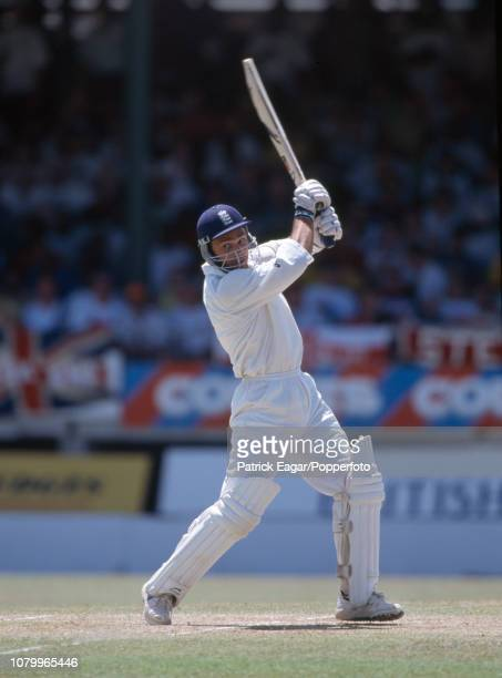 England batsman Mark Ramprakash hits out during his innings of 154 runs in the 5th Test match between West Indies and England at the Kensington Oval...