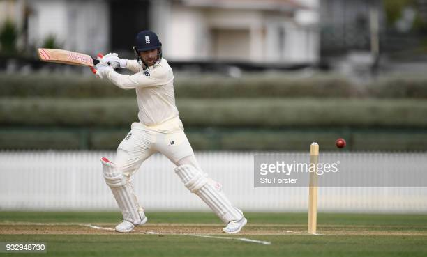 England batsman Mark Stoneman hits out during day two of the Test warm up match between England and New Zealand Cricket XI at Seddon Park on March 17...