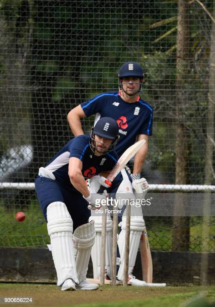 England batsman Mark Stoneman in action watched by Alastair Cook during England nets ahead of their first warm up match at Seddon Park on March 12...