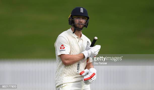 England batsman Mark Stoneman leaves the field after being dismissed for the second time in a day during day two of the Test warm up match between...