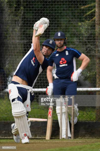 England batsman Mark Stoneman looks on as Alastair Cook hits out during England nets ahead of their first warm up match at Seddon Park on March 12...
