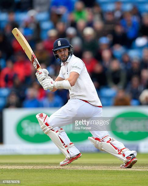 England batsman Mark Wood hits out during day three of the 2nd Investec test match between England and New Zealand at Headingley on May 31 2015 in...