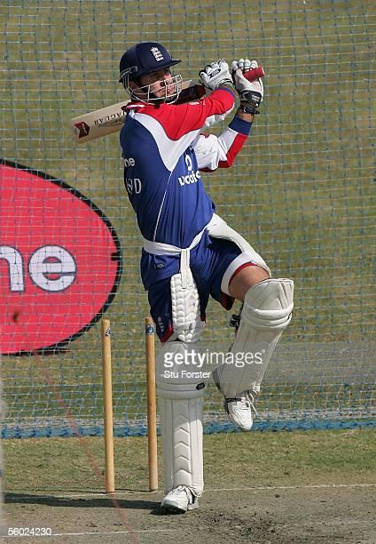 England batsman Michael Vaughan hits out during England Nets at the Rawalpindi Cricket Stadium on October 28 2005 in Islamabad Pakistan