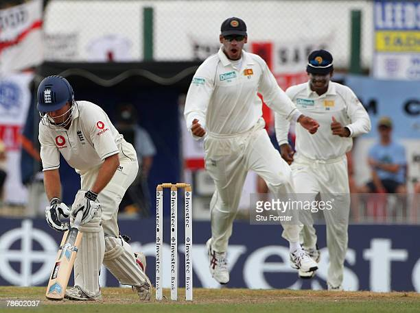 England batsman Michael Vaughan looks on in frustration after being dismissed by Sri Lankan bowler Chanaka Welegedara during day 4 of the 3rd and...