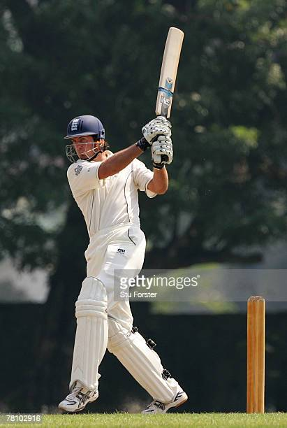 England batsman Michael Vaughan pulls a ball to the bounday during the third and final day of the warm up game between a Sri Lankan XI and England at...