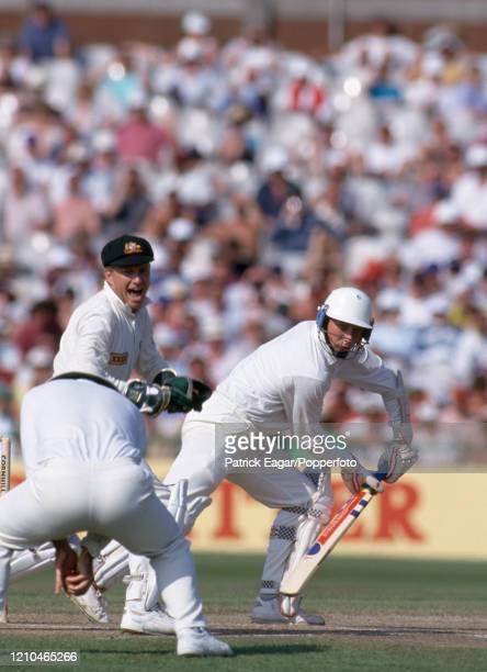 England batsman Mike Atherton is caught for 25 runs by Mark Taylor of Australia off the bowling of Shane Warne during the 1st Test match between...