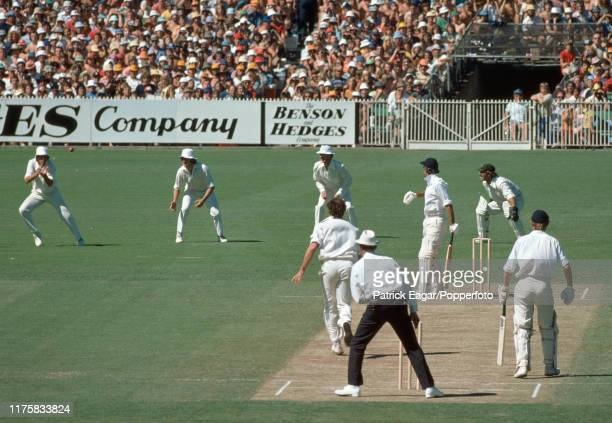 England batsman Mike Brearley is caught for 12c runs by David Hookes of Australia off the bowling of Dennis Lillee during the Centenary Test match...