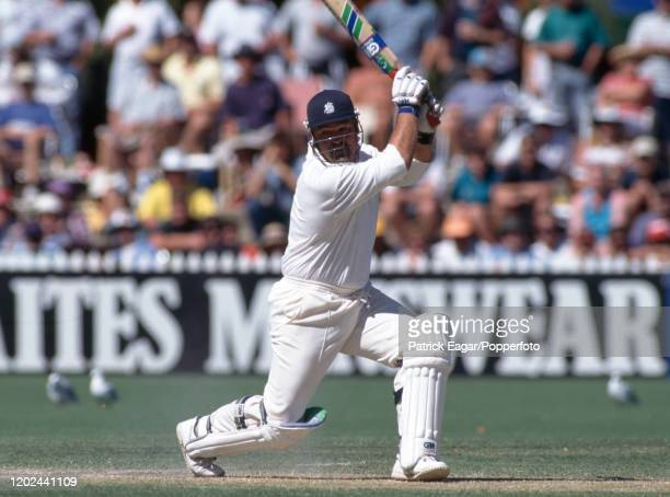 England batsman Mike Gatting drives during his innings of 117 in the 4th Test match between Australia and England at the Adelaide Oval Adelaide...