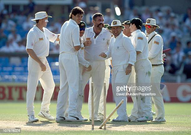 England batsman Mike Gatting has been bowled by Merv Hughes of Australia during the 1st Test match between England and Australia at Old Trafford in...