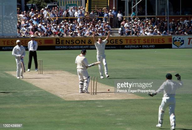 England batsman Mike Gatting is bowled for a firstball duck by Glenn McGrath of Australia during the 5th Test match between Australia and England at...