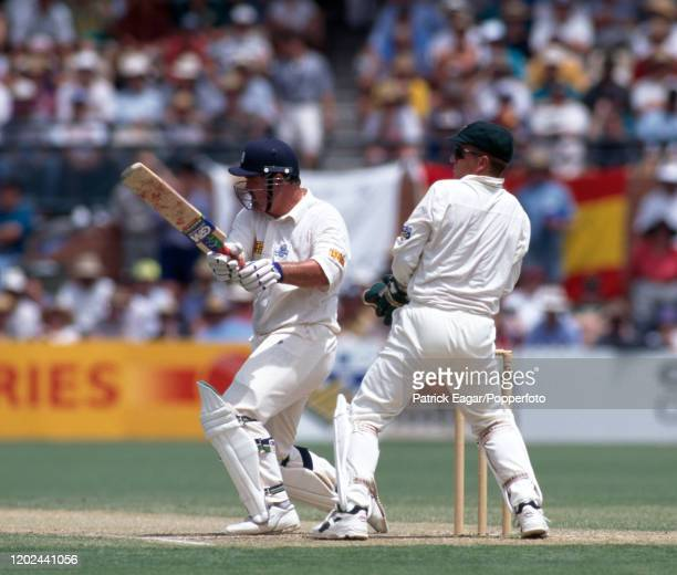 England batsman Mike Gatting pulls a delivery during his innings of 117 in the 4th Test match between Australia and England at the Adelaide Oval...