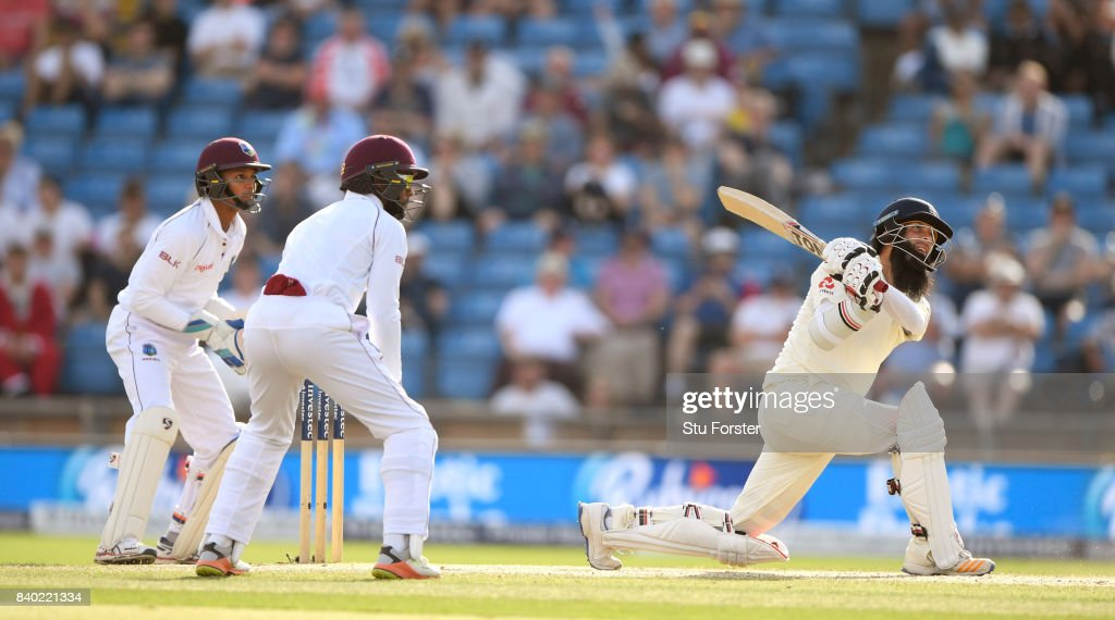 England batsman Moeen Ali hits out during day four of the 2nd Investec Test Match between England and West Indies at Headingley on August 28, 2017 in Leeds, England.