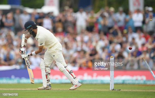 England batsman Moeen Ali is bowled first ball by Suranga Lakma during Day One of the First Test match between Sri Lanka and England at Galle...