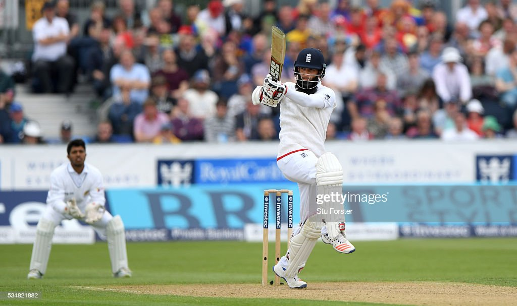 England batsman Moeen Ali picks up some runs during day two of the 2nd Investec Test match between England and Sri Lanka at Emirates Durham ICG on May 28, 2016 in Chester-le-Street, United Kingdom.