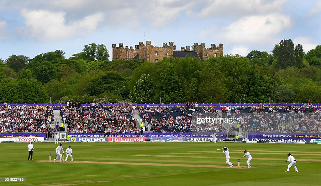 England batsman Moeen Ali picks up some runs in the shadow of Lumley Castle during his stand with Steven Finn during day two of the 2nd Investec Test match between England and Sri Lanka at Emirates Durham ICG on May 28, 2016 in Chester-le-Street, United Kingdom.