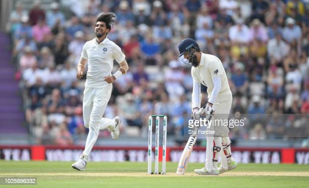 England batsman Moeen Ali reacts after being dismissed by India bowler Ishant Sharma during day three of the 4th Specsavers Test between England and...