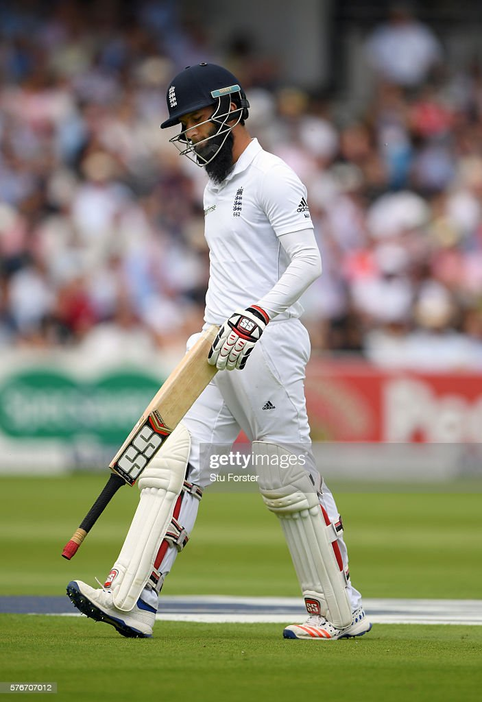 England batsman Moeen Ali reacts after being dismissed during day four of the 1st Investec Test match between England and Pakistan at Lord's Cricket Ground on July 17, 2016 in London, England.
