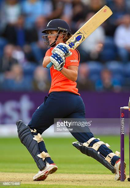 England batsman Natalie Sciver hits out during the 3rd NatWest T20 of the Women's Ashes Series between England and Australia Women at SWALEC Stadium...