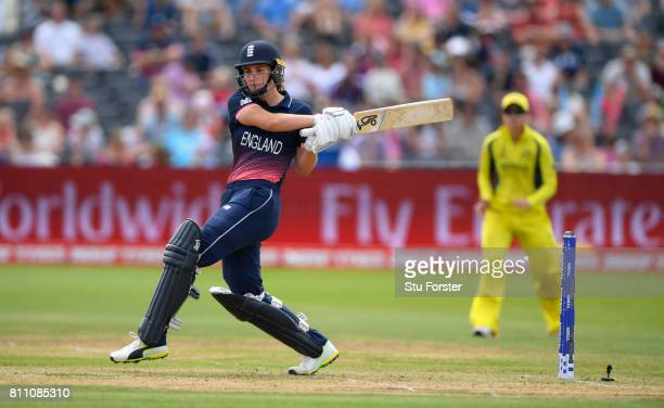 England batsman Natalie Sciver hits out during the ICC Women's World Cup 2017 match between England and Australia at The Brightside Ground on July 9...