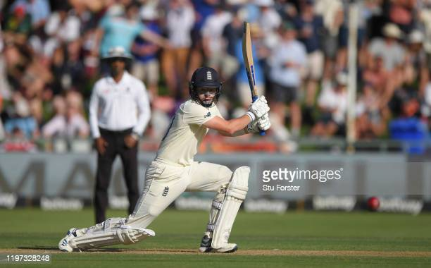 England batsman Ollie Pope hits out during Day One of the Second Test between England and South Africa on January 03, 2020 in Cape Town, South Africa.