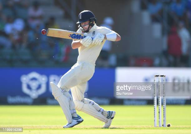England batsman Ollie Pope hits out during Day One of the Third Test between England and South Africa at St George's Park on January 16, 2020 in Port...