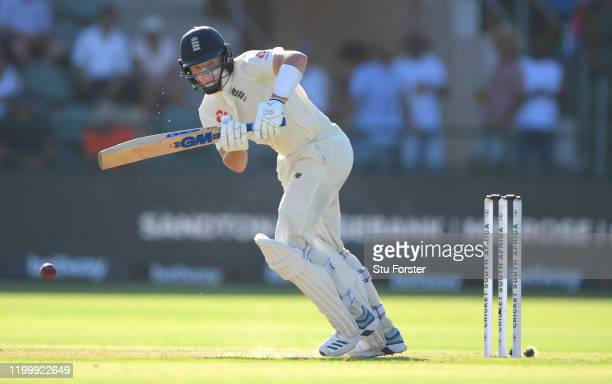 England batsman Ollie Pope hits out during Day One of the Third Test between England and South Africa at St George's Park on January 16 2020 in Port...