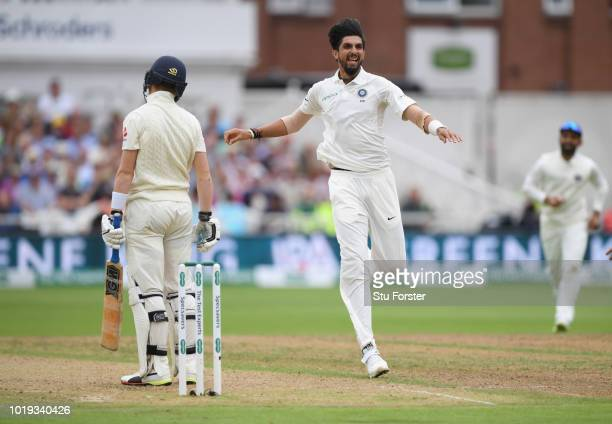 England batsman Ollie Pope is dismissed off the bowling of Ishant Sharma during day two of the 3rd Specsavers Test Match between England and India at...