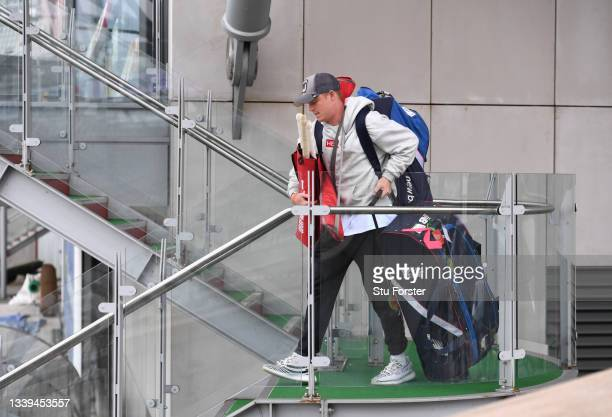 England batsman Ollie Pope leaves the dressing room with his kit after the match is cancelled during day one of the Fifth Test Match between England...