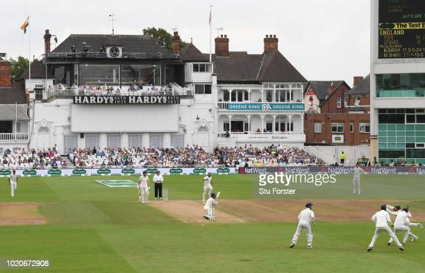 England batsman Ollie Pope looks on after edging a ball from Mohammed Shami to Virat Kohli at 3rd slip for 16 runs during day four of the 3rd...
