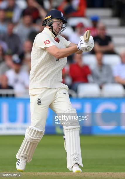 England batsman Ollie Robinson is hit by a ball from Mohammed Shami during day four of the First Test Match between England nd India at Trent Bridge...