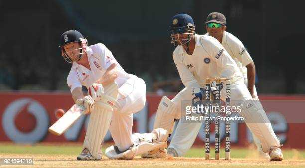 England batsman Paul Collingwood attempts a ramp shot during his innings of 108 in the 1st Test match between India and England at MA Chidambaram...