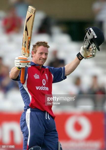 England batsman Paul Collingwood celebrates after reaching his century during The Natwest Series Match between England and Bangladesh at Trent Bridge...