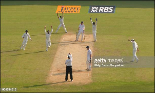 England batsman Paul Collingwood is given out caught by India's Gautam Gambhir off the bowling of Harbhajan Singh during the 1st Test match between...