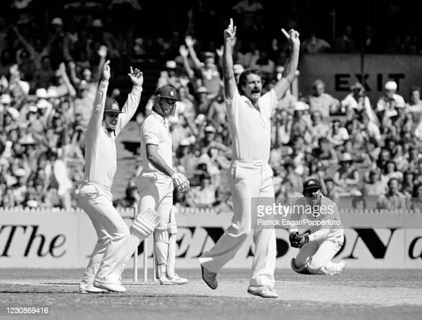 England batsman Peter Willey is caught behind for 2 runs by Australia's wicketkeeper Rodney Marsh off the bowling of Dennis Lillee during the 3rd...