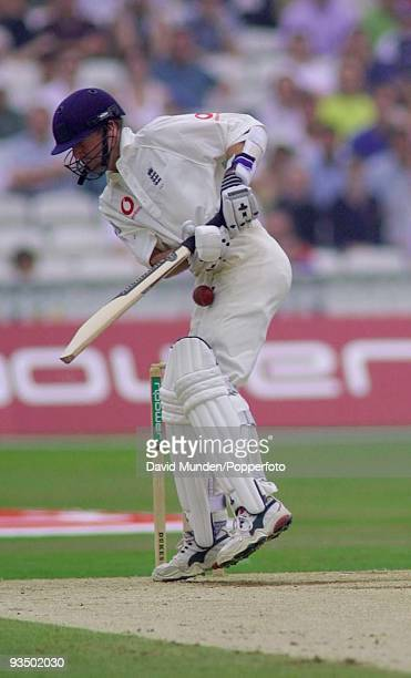England batsman Phil Tufnell is hit in the groin by a ball bowled by Australia's Glenn McGrath during England's first innings on the fourth day of...