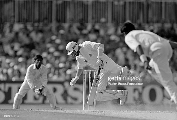 England batsman Phil Tufnell is hit on the foot by Waqar Younis of Pakistan during the 5th Test match between England and Pakistan at The Oval London...