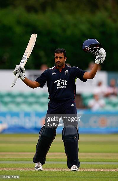 England batsman Ravi Bopara celebrates after reaching his century during the One Day International match between England Lions and West Indies A at...