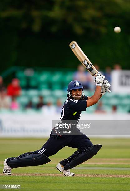 England batsman Ravi Bopara cuts a ball to the boundary during the One Day International match between England Lions and West Indies A at New Road on...
