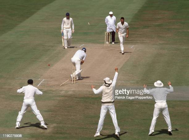 England batsman Robin Smith is bowled for 26 by Merv Hughes of Australia during the 5th Test match between England and Australia at Trent Bridge...