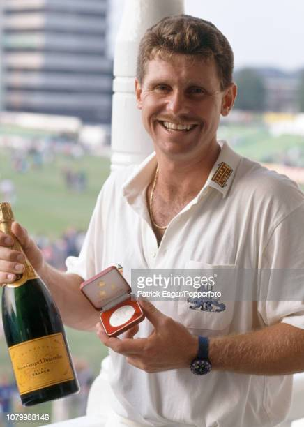 England batsman Robin Smith shows off his man of the match medal after his innings of 77 runs in the 3rd Texaco Trophy One Day International between...